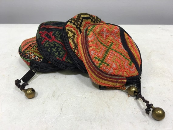 Southeast Asia Purse Change Purses Miao Handmade Embroidered Coins Money Hand Woven Fabric Gift for Her One of Kind Tribal
