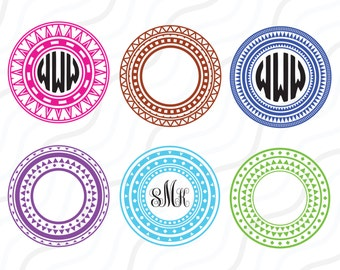 Tribal Circles Monogram SVG, Tribal SVG, Circles SVG Cut table Design,svg,dxf,png Use With Silhouette Studio & Cricut_Instant Download