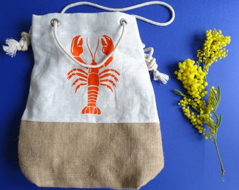 Screen printed linen - burlap bag
