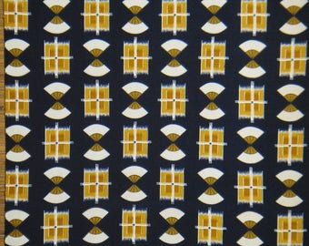 "IKAT SILK FABRIC Vintage Japanese Navy Silk Fabric frm Unused Bolt,Ikat Kimono Silk Fabric, Kasuri Navy Silk Fabric,14.5"" W 36"" Lg Per Piece"