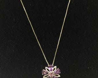 Beautiful Sterling Silver Amethyst Flower Necklace