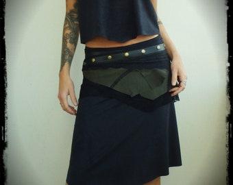 Belt-skirt set in khaki leather and black skirt, Khaki leather belt-skirt and Black Lace, stretch skirt, handmade