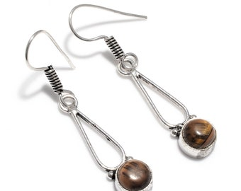 Fantastic Tiger Eye 925 Silver Earrings