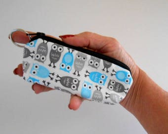 Coin Purse Mini Key Ring Zipper Pouch ECO Friendly Padded Lip Balm Case Earbud Pouch Blue Owls