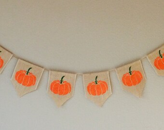 Thanks Giving Pumpkin Hessian Burlap Bunting Banner