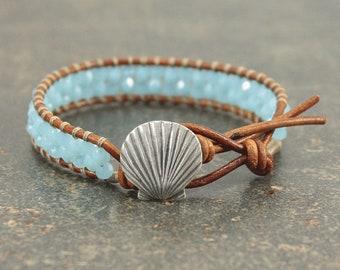 Turquoise Shell  Bracelet Boho Beach Chic Shell Jewelry Single Leather Wrap Bracelet