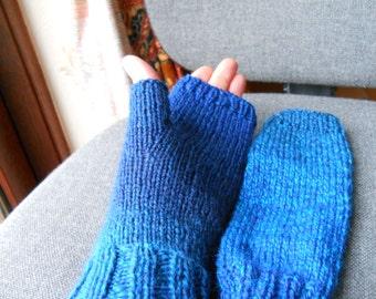 shades of blue gloves./ blue tweed fingerless gloves./ ladies blue gloves