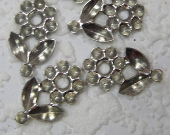 21MM Flower Blank Settings Silver 8x4MM Navettes and 19SS Round DIY Glue In Rhinestones or No Hole Pearls,  Stamping Assemblage