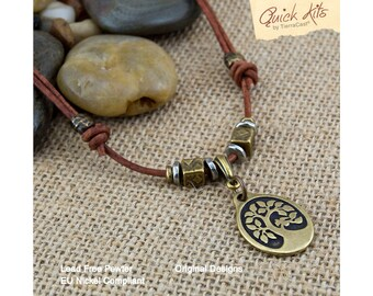 Choker kit etsy studio diy necklace kit leather jewelry leather choker necklace tierracast quick kits bird in a tree of life necklace do it yourself rustic pendant solutioingenieria Gallery