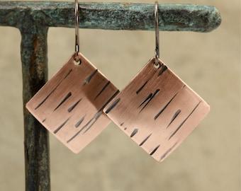 Brushed Copper Square Earrings, Hammered Copper Earrings, Copper Earrings, Dangle Earrings, Hammered Earrings, Southwestern Earrings