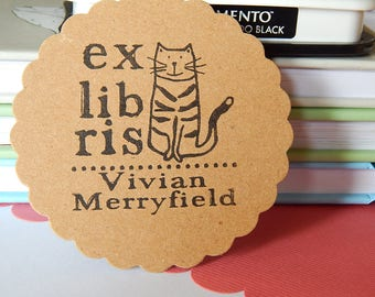 Lovable Cat Ex Libris Olive Wood Stamp