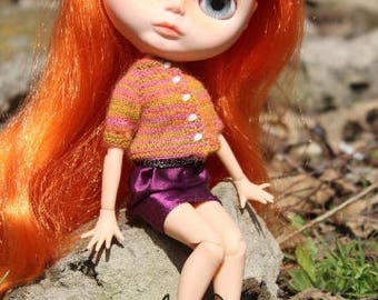 Blythe knitted cardigan Orange pink sweater for Blythe Azone pure neemo Doll sweater Blythe clothing Outfit for doll