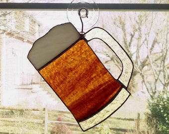 Beer Mug Stained Glass Suncatcher - Beer Decoration - Bar Decor - Beer Glass Ornament - Father's Day Gift - Hostess Gift - Beer Lover Gift