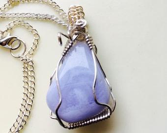 Blue Lace Agate Pendant,  Pale Blue Necklace