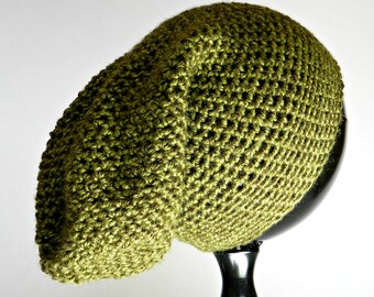 Olive Green Hat, Slouchy Beanie, Crocheted Winter Hat, Green Winter Hat, Teen Slouchy Beanie, Crocheted Green Hat
