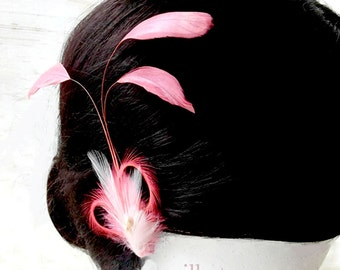 Coral Feather Fascinator - CORAL PLUME - Coral Coque Feather Clip