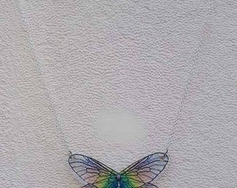 Multicolor fairy wings and Silver Star charm necklace