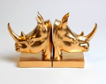 OVERSTOCK SALE - White Faux Taxidermy - Gold Rhino Head Bookends - Gold Home Decor - Office Library Decor - Book Storage