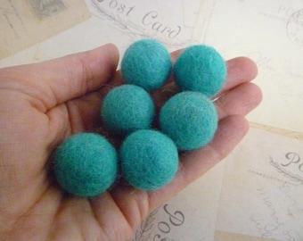Felt Balls x 10 - Aqua - 2cm