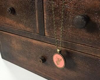 FAIRY GODMOTHER coral necklace pendant faerie flight fairy tale godmother cinderella pixie dust brass