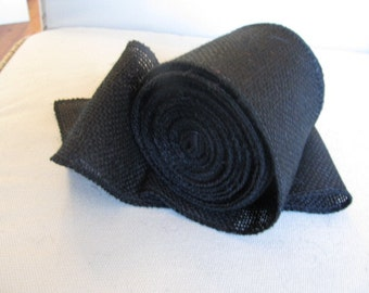 Black Burlap 4 inch ribbon/ 5 yard piece/ need more let us know