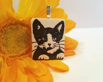 Tuxedo Cat Jewelry, Cat Pendant, Optional Necklace, Black and White Cat, Cat Lover Gift, Kitty Face, Pet Lover Pendant, Polymer Clay