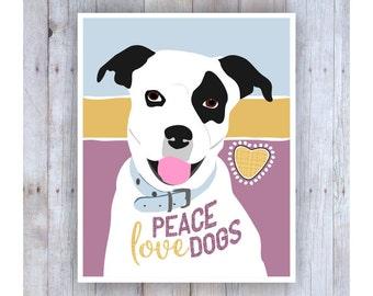 Peace Love Dogs, Teen Room Decor, Gift for Teen Girls, Motivational Art, Teen Art, Hippie Art, Fun Art, Dog Art, Shar Pei, Dog Lover