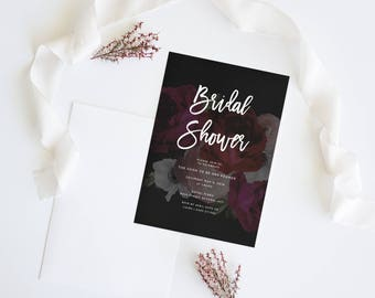 Dark Floral   Wedding Event Invitation Suite   Bridal Shower Printable Digital File Printed Invite Invitations Stationery