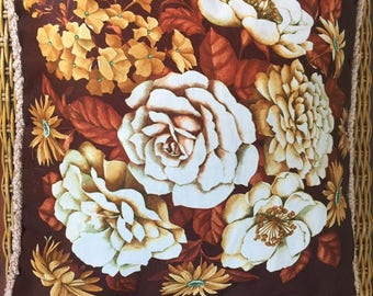 Mid Century Bold Floral Cushion- Oranges/Browns
