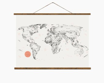 "World Map – Big Art Print – Multiple sizes available 12"" x 18"" / 24"" x 36"""