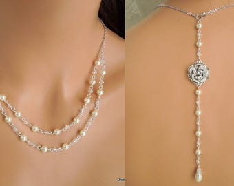 bridal Pearl Necklace, bridal rhinestone Necklace, pearl Necklace, wedding backdrop Necklace, wedding necklace, bridal jewelry, ROSELANI