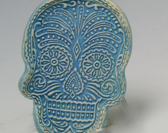 Sugar Skull Ring Dish, Jewelry Holder, Small Soap Dish, Trinket Dish, Small Serving Tray - Day of the Dead/Ceramics and Pottery
