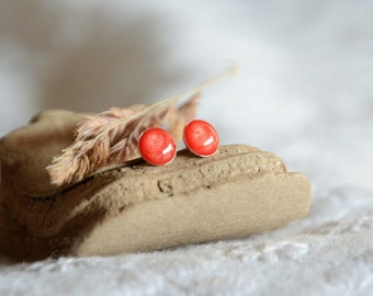 Tiny red ear studs, small red round stud earrings, sterling silver post earrings, small earrings in gift box, little red gift for her