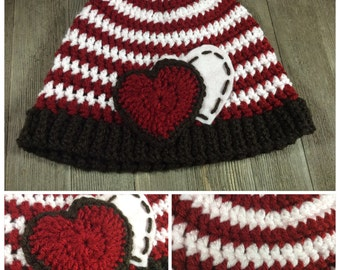 Simple Hearts and Stripes Beanie Cap (0 - 6 Months) ~ Crochet
