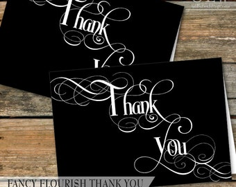 Modern Typography Thank You Card, Classic Black and White Thank You, Printable Thank You Card, DIY Card   4x6   INSTANT DOWNLOAD