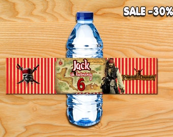 Pirates of the Caribbean bottle, Pirates of the Caribbean water bottle labels, Jack Sparrow birthday bottle labels