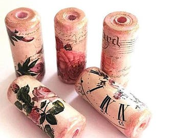 Victorian Rose Beads -  Handmade Paper Tube Beads - - Set/5 -  PB18