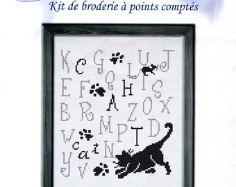cross stitch Kit counted embroidery hobbies: cat and mouse abcdaire