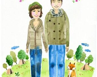 An original watercolor portrait | custom portrait | custom illustration | family portrait | family portrait illustration | couple portrait