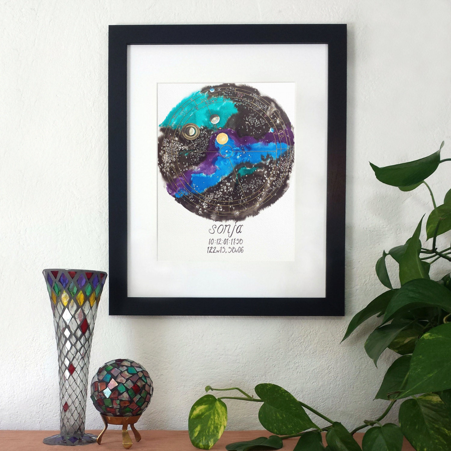 Libra natal chart art personalized birth chart painting zoom geenschuldenfo Choice Image