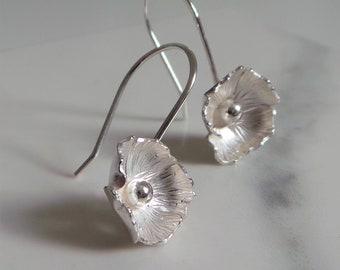 Silver Flower Drop Earring, Handmade Sterling Silver Floral Dangling Earrings, Birthday Gift for Her,