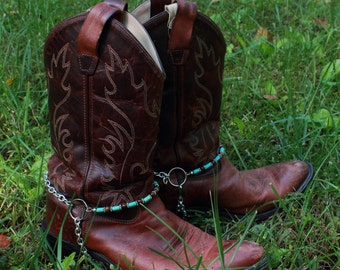 Genuine Tigers Eye and Turquoise Cowboy Bootchains Boot Jewelry