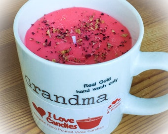 Grandma Mug Candles Champagne & Roses, Bespoke Handcrafted Wax Candles