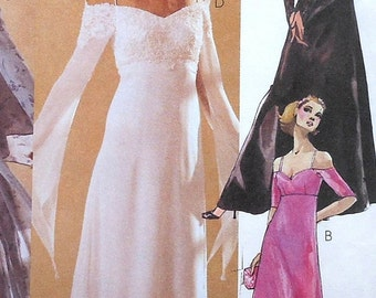 Goth Sleeved Gown Sewing Pattern UNCUT McCalls 3535 Sizes 10-14wedding prom formal