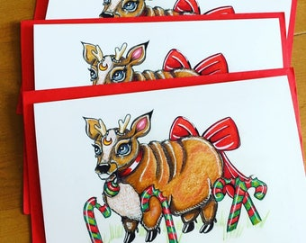 Ate Too Much! A5 greeting card Christmas reindeer candy cane fantasy fairytale North Pole humour funny happy surreal bizarre strange cute