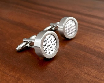 Wedding Song on Paper / First Year Anniversary Gift / One Year Anniversary Gift for Him / Custom Cufflinks with First Dance Song Lyrics