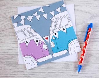 Campervan card 'Love makes the wheels go round'