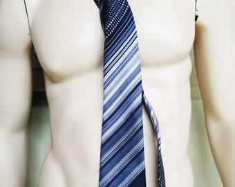 Vintage Jacques Monet Paris Necktie. Vintage Tie. Vintage Menswear.  Ultramarine Blue. Blues. Grey. Vintage Mens Accesories. Polyester