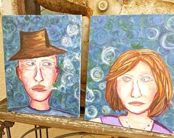 Folk Art, Original Primitive, Funky Man Smoking Cigarettes, Anti-Smoking Outsider Art, PAIR of Vintage Paintings, Funky Village Couple
