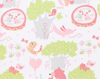 Woodland Fabric by the Yard, Nursery, Quilt, Baby, Cotton, Sweethearts, Free Spirit, Pink, Green, Heart, Bear, Bee, Cat, Children's, Decor
